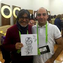 Omar zevallos with his live caricature drawn by Ali Miraee